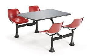 30 X 48 Restaurant Cluster Table With Red Seats And Stainless Steel Top