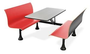 30 X 48 Restaurant Retro Bench Stainless Steel Top center Frame Red Seats