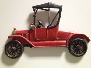 Antique Sexton Cast Metal Iron Red Car Wall Decoration 1960s Collectible