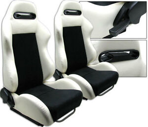 New 2 Black White Leather Racing Seats Reclinable W Slider All Honda