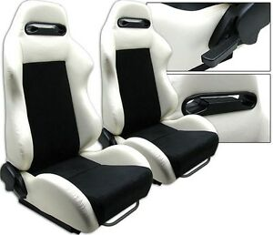 New 2 White Black Racing Seats Reclinable W Sliders All Chevrolet