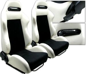 2 White Black Racing Seats Reclinable W Slider All Bmw New