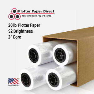 4 Rolls 22 X 150 20lb Bond Plotter Paper For Wide Format Inkjet Printers