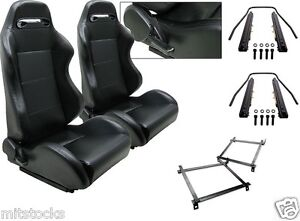 2 Black Leather Racing Seats Reclinable Slider Brackets Ford Focus 2000 2004