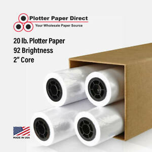4 Rolls 36 X 150 20lb Bond Plotter Paper For Hp Designjet Printers