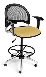 Medical Office Task Chair In Goldenflax Fabric W drafting Stool