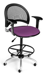Medical Office Task Chair In Plum Fabric W drafting Stool Arms Lab Stool
