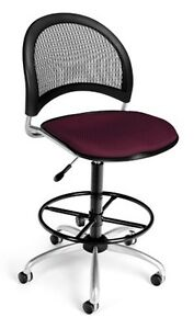 Medical Office Task Chair In Burgundy Fabric W drafting Stool Lab Stool