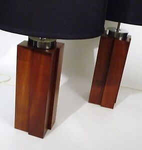 Pair Mid Century Modernist Solid Cherry Architectural Retro Vintage Lamps