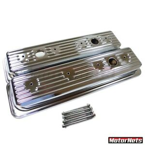 87 00 Sbc Chevy Chrome Centerbolt Valve Covers Factory Style 5 0 305 5 7 350