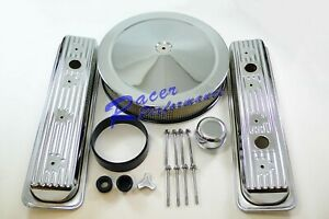Chrome Sb Chevy Center Bolt Valve Cover Engine Dress Up Kit Air Cleaner 350 305