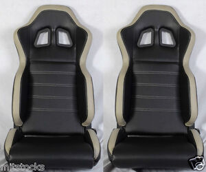 New 2 Black Gray Pvc Leather Racing Seats Slider Reclinable All Toyota