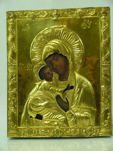 Antique 18th Century Russian Silver Gold Icon Mother Of God Russia
