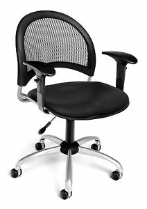 Medical Swivel Office Task Chair In Black Vinyl W arm clinic Receptionist Chair