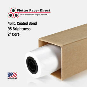 1 Roll 60 X 100 46lb Coated Bond Paper For Wide Format Inkjet Printers