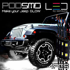Rock Led Lights White Underbody Kit Under Car Neon Glow For Jeep Grand Cherokee