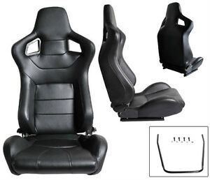 1 Pair Black Pvc Leather Racing Seats Reclinable W Sliders Fit For Nissan