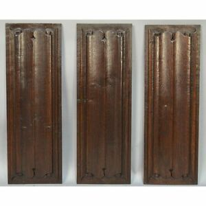 Stunning Set Of 3 17th C French Carved Oak Gothic Style Linenfold Panels