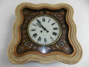 Antique French Napoleon Iii Picture Frame Wall Clock W Mother Of Pearl