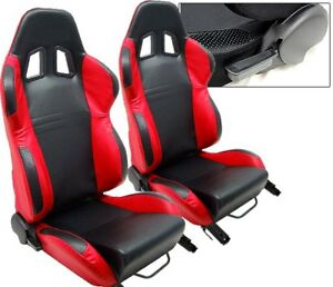 New 2 Red Black Leather Racing Seats Reclinable W Slider Fit For Nissan