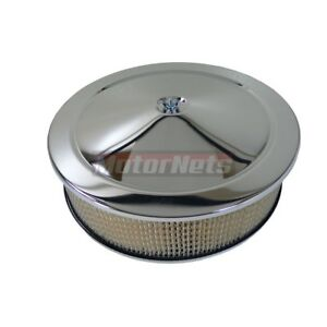 Chrome 14 X 4 Air Cleaner Fits Holley Edelbrock Chevy Ford Mopar Hot Rod V 8