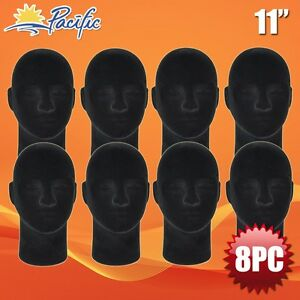 Male Styrofoam Foam Black Velvet Like Mannequin Head Display Wig Hat Glasses 8pc