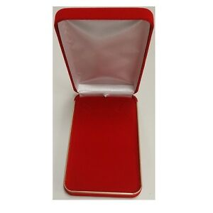 Classic Red Velvet Metal Necklace Boxes With Gold Brass Trim 6 Boxes