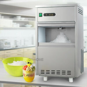 44lb Restaurant Flake Ice Maker Machine 6mins Stainless Steel Home Bar 110v Auto