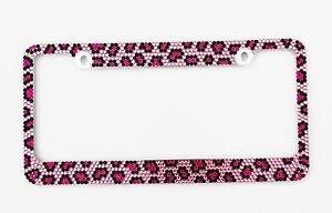 Bling Pink Leopard Diamond License Plate Frame