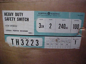 Ge Th 3223 100 Amp 240 Vac 3 Pole Fusible Disconnect