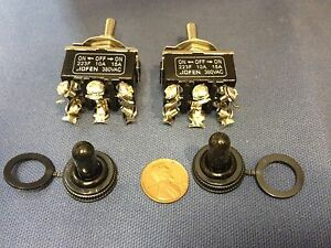 2 Pieces Black Waterproof Boot Cap Dpdt Momentary Toggle Switch 2x On off on Amp