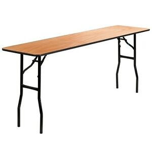 6 Pack 18 x72 Wood Folding Training seminar Table With A Clear Coated Finish