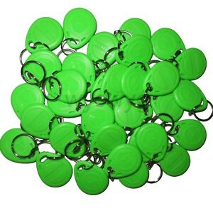100pcs 125khz Rfid Id Em4100 Proximity Induction Tag Token Keyfob Green Color