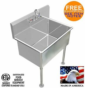 Hand Washing Sink 36 x24 x15 deep Big Tub Heavy Duty Stainless Steel Made In Usa