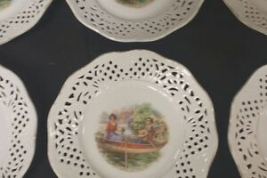 Schumann Dresden Set 6 Small Decorative Reticulated Plates Couple In Boat Scenes
