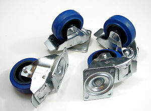 Four Heavy Duty 4 Penn Elcom W0985 v6 Swivel Casters W brake Blue Rubber Wheel