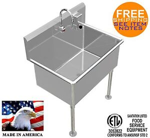 Wash Up Hand Sink 36 x24 x15 deep Big Tub Heavy Duty Stainless Steel Elec Faucet