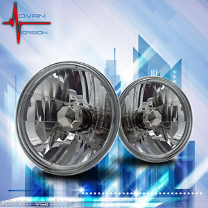 7 Inch Round Conversion Lamps Headlights Clear Lens Pair