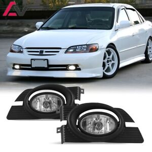 For Honda Accord 01 02 Clear Lens Pair Bumper Fog Light Lamp wiring switch Kit