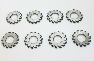 Diameter 50mm Hss 8h Set 8 Pcs Dp20 Pa14 1 2 No 1 8 Involute Gear Cutters