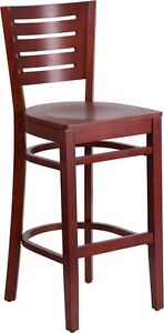 Slat Back Mahogany Wood Restaurant Barstool Commercial Quality Bar Stool