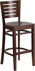 Slat Back Walnut Wood Restaurant Barstool Commercial Quality Bar Stool
