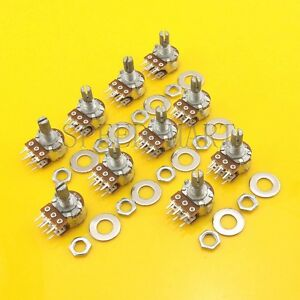 10 Pcs B100k Ohm Dual Linear Rotary Potentiometer Pot 15mm Shaft 6 Pins