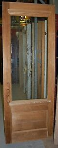 Vintage Pine Door Stripped W Center Glass Window