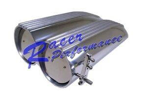Polished Aluminum Finned Shotgun Intake Air Hood Scoop Single Dual Carb 4 Bbl