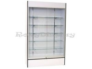 Wall White Display Show Case Retail Store Fixture With Lights Knocked Down wc4w