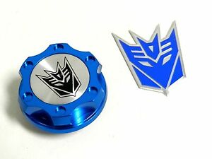 Blue Decepticon Billet Racing Engine Oil Cap For Dodge Emblem