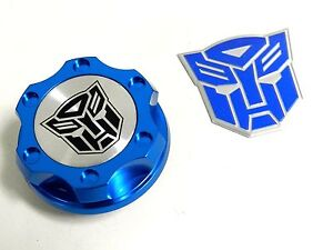 Blue Autobot Billet Racing Engine Oil Cap For Dodge Emblem