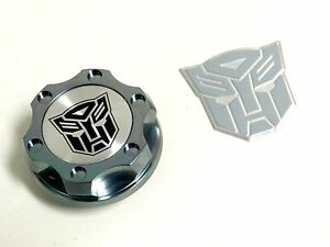 Gunmetal Autobot Billet Racing Engine Oil Cap For Dodge Emblem