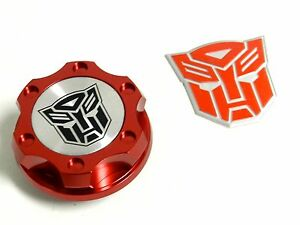 Red Autobot Billet Racing Engine Oil Cap For Dodge Emblem